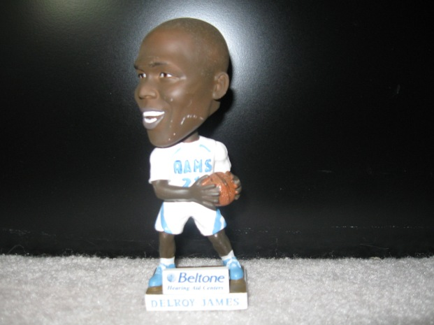 The lone bobblehead giveaway that I have received at an official stadium visit from the University of Rhode Island. Good ol' Delroy James holding on to the basketball and certainly not looking to make a pass