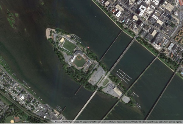 Overhead image from Google Maps showing Harrisburg's unique Metro Bank Park on City Island