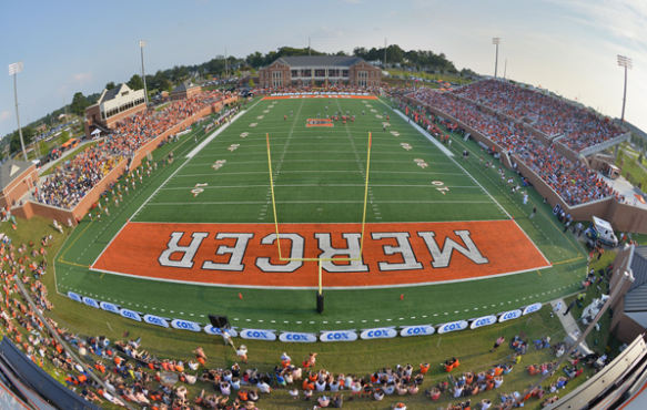 Mercer University returns to the football field after a 72 year hiatus and plays in their brand new, 10,000 seat stadium.